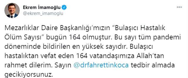 İmamoğlu, bugünkü bulaşıcı hastalık ölüm sayısını açıklayıp Bakan Koca'ya çağrıda bulundu