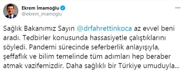 İmamoğlu, İstanbul'daki bugünkü bulaşıcı hastalık kaynaklı ölüm sayısını açıklayıp Bakan Koca'ya çağrıda bulundu