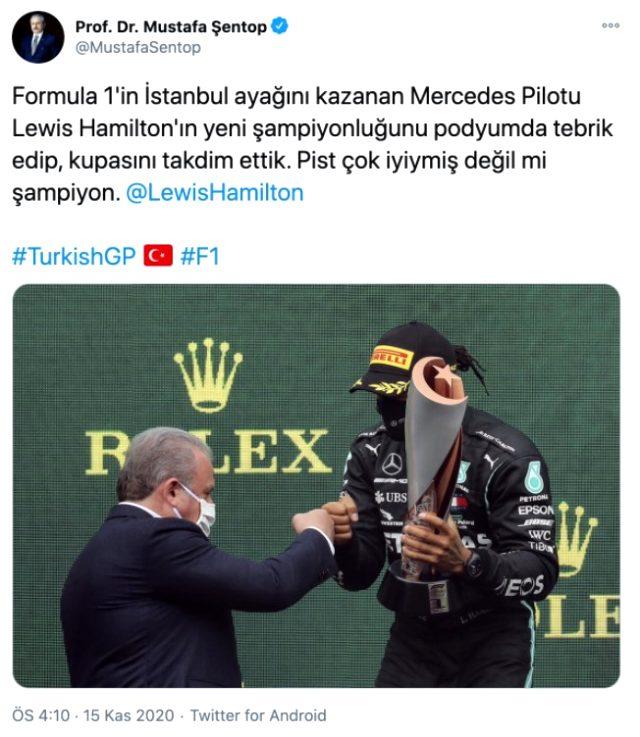TBMM Başkanı Şentop'tan Türkiye Grand Prix'sini kazanan Hamilton'a tebrik