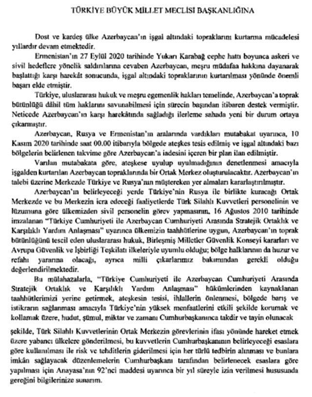 Son Dakika! Azerbaycan'a asker gönderilmesine ilişkin Cumhurbaşkanlığı tezkeresi, TBMM Başkanlığına sunuldu