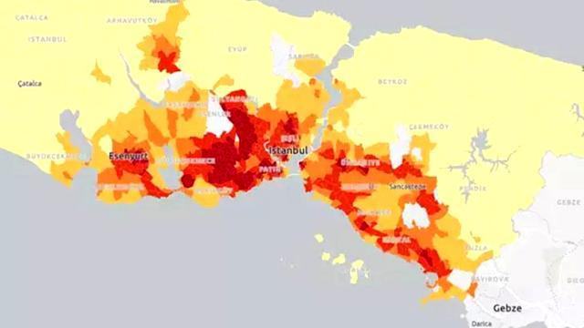 İstanbul'un koronavirüs kırılganlık haritasında Avrupa Yakası'ndaki mahalleler daha riskli bulundu