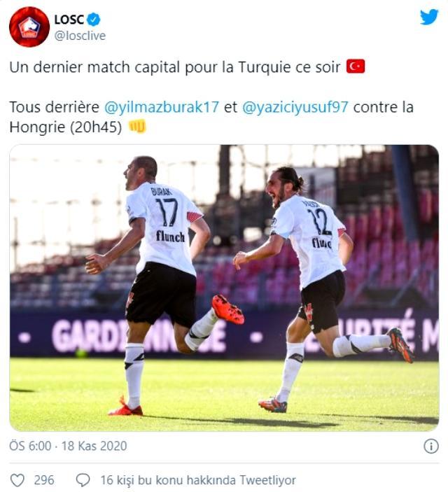 Lille'den Burak ve Yusuf'a kritik maç öncesi destek: Macaristan karşısında arkanızdayız