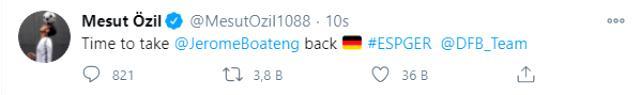 Mesut Özil, İspanya'dan 6 gol yiyen Almanya'ya göndermede bulundu