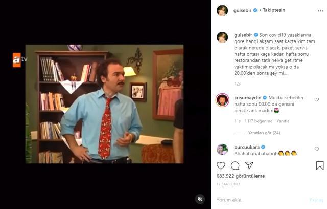 Oyuncu Gülse Birsel, sokağa çıkma kısıtlamasının ardından yaptığı paylaşımla kahkahaya boğdu