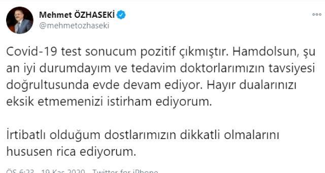 AK Parti Genel Başkan Yardımcısı Özhaseki koronavirüse yakalandı