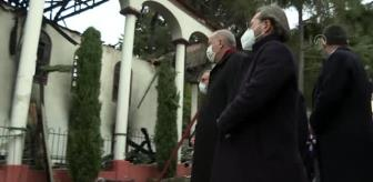 Şule Yüksel Şenler: Cumhurbaşkanı Erdoğan, yangında hasar gören tarihi Vaniköy Camisi'nde incelemede bulundu