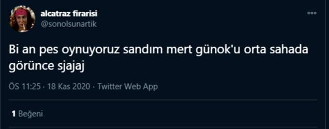 Mert Günok'un orta sahaya çıkıp topa müdahale etmesi, sosyal medyada gündem oldu