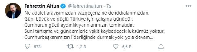 Bülent Arınç'ın açıklamaları sonrası Fahrettin Altun dikkat çeken paylaşım: Ne adalet arayışımızdan vazgeçeriz ne de iddialarımızdan