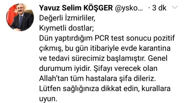 Son dakika! İzmir Valisi Yavuz Selim Köşger korona virüse yakalandı