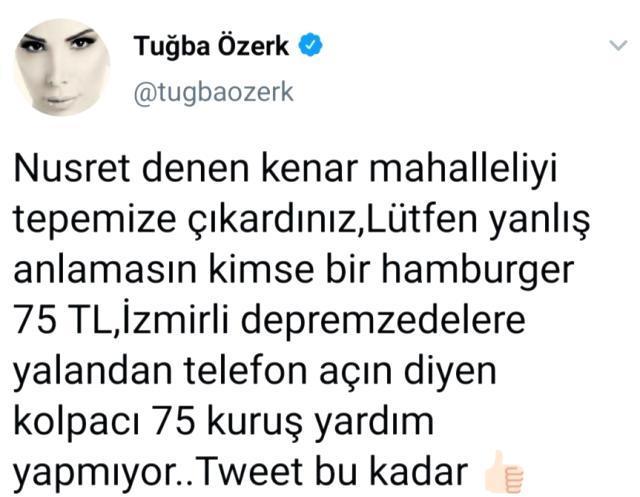 Tuğba Özerk'ten Nusret'e bomba gönderme: Kolpacı 75 kuruş yardım yapmıyor