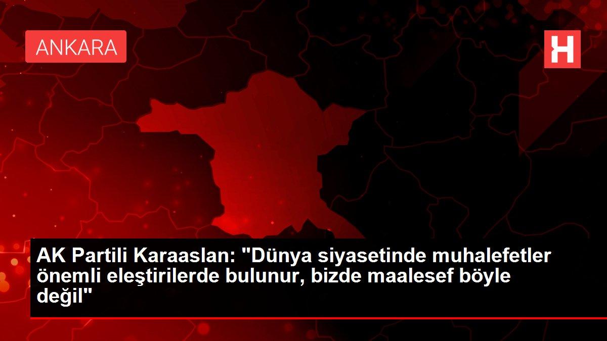 AK Partili Karaaslan: 'Dünya siyasetinde muhalefetler önemli eleştirilerde bulunur, bizde maalesef böyle d...