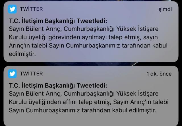Arınç'ın istifasını duyuran İletişim Başkanlığı, 'görevinden affını talep etti' ifadesini kaldırarak yeni paylaşım yaptı