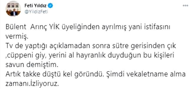 Bülent Arınç'ın istifasına AK Parti ve MHP'den ilk tepki: En büyük hizmetin 'istifa' haline gelmesi çok büyük acı