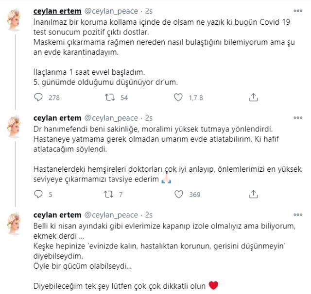 Şarkıcı Ceylan Ertem, koronavirüse yakalandı