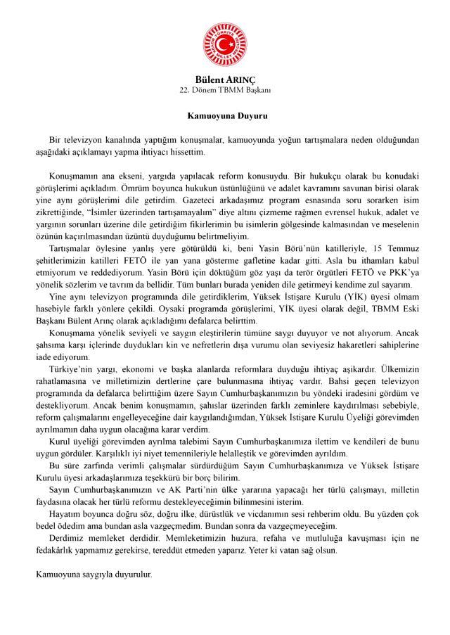 Son Dakika! Bülent Arınç, Cumhurbaşkanlığı Yüksek İstişare Kurulu üyeliğinden istifa etti