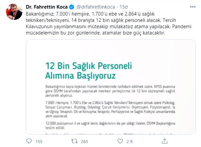 Son Dakika! Sağlık Bakanı Fahrettin Koca: 14 branşta 12 bin sağlık personeli alınacak