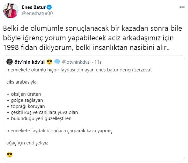 YouTuber Enes Batur, kazasına yorum yapan bir kişiye sosyal medya üzerinden tepki gösterdi: Belki insanlıktan nasibini alır