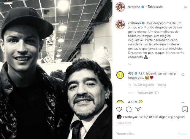 Futbolun yaşayan efsaneleri Messi ile Ronaldo, Maradona'ya böyle veda etti