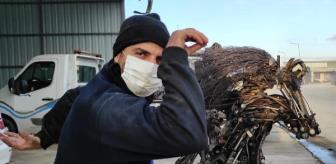 Düzce: Bu kez Nusret'e benzeyen metal heykel yaptı