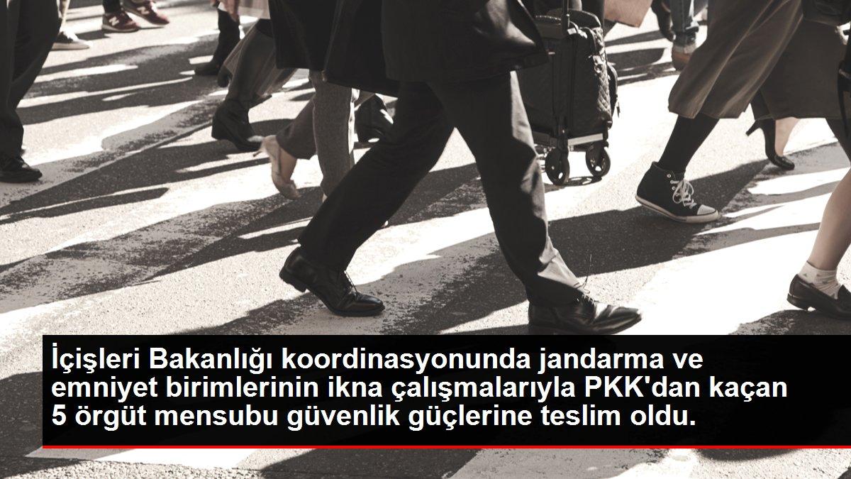 İçişleri Bakanlığı koordinasyonunda jandarma ve emniyet birimlerinin ikna çalışmalarıyla PKK'dan kaçan 5 örgüt mensubu güvenlik güçlerine teslim oldu.