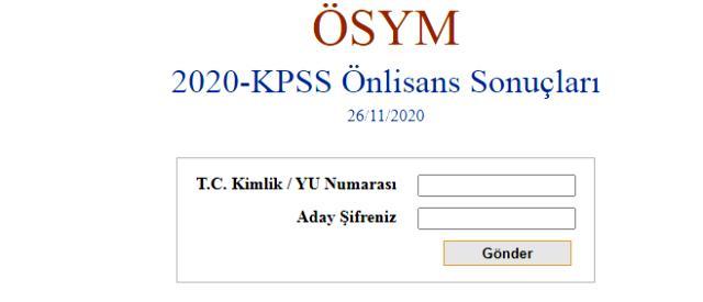 ÖSYM Son Dakika! 2020 KPSS ön lisans sonuçları açıklandı KPSS ön lisans sonuçları sorgulama ekranı!