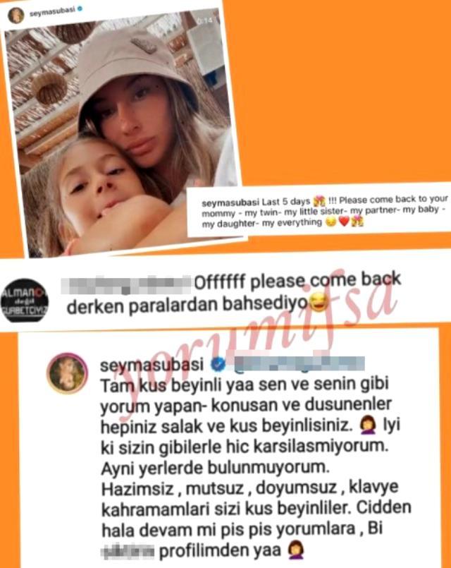 Şeyma Subaşı, kızıyla fotoğrafına parayla ilgili yorum yapan takipçisine küfrederek cevap verdi