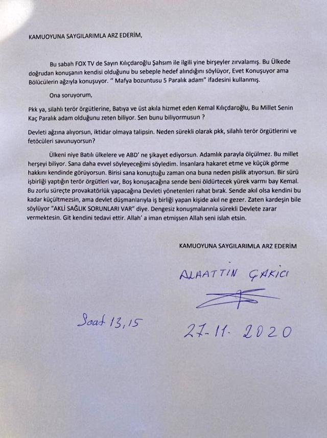 Çakıcı'dan Kılıçdaroğlu'na yeni mektup: Sende beni öldürtebilecek yürek var mı bay Kemal?