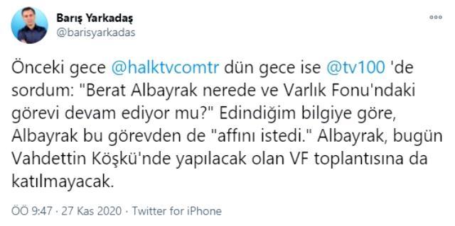 CHP'li Yarkadaş'tan bomba iddia: Berat Albayrak Türkiye Varlık Fonu'ndaki görevinden de istifa etti