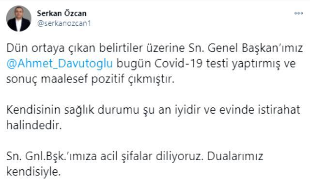 Son Dakika: Ahmet Davutoğlu koronavirüse yakalandı