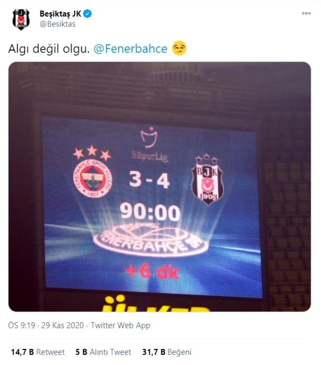 Beşiktaş'tan Fenerbahçe'ye maç sonu çifte gönderme