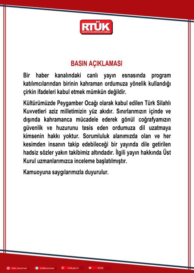 Son Dakika! RTÜK, CHP'li vekilin Türk ordusuna yönelik 'satılmış' sözlerini sarf ettiği yayına ilişkin inceleme başlattı