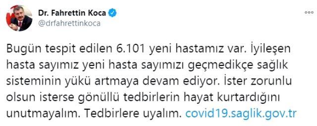 Son Dakika: Türkiye'de 1 Aralık günü koronavirüs nedeniyle 190 kişi vefat etti, 30 bin 110 yeni vaka tespit edildi