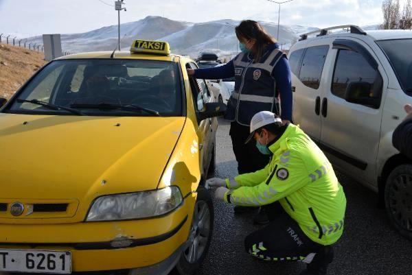 Son dakika haber... Erzurum'da kış lastiği denetimi