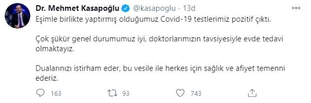 Son Dakika: Gençlik ve Spor Bakanı Mehmet Muharrem Kasapoğlu, koronavirüse yakalandı