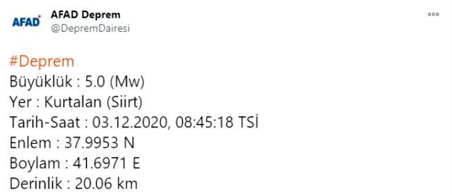 Son Dakika! Siirt'in Kurtalan ilçesinde saat 08.45'te 5 büyüklüğünde bir deprem meydana geldi