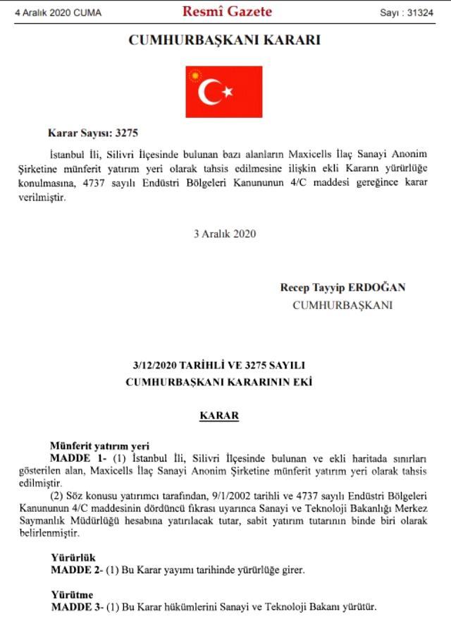 Erdoğan'ın imzasıyla İstanbul'daki dev arazi ünlü iş adamı Ethem Sancak'ın yeğeninin şirketine tahsis edildi