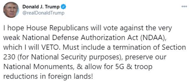 Trump, S-400 hava savunma sistemi nedeniyle Türkiye'ye yaptırım öngören bütçe tasarısını veto edecek