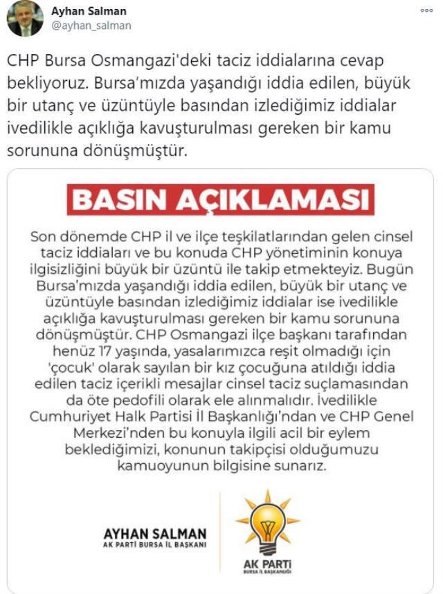 17 yaşındaki kıza attığı mesajlar ortaya çıkan CHP'li ilçe başkanı görevinden istifa etti