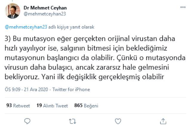 Prof. Dr. Mehmet Ceyhan'dan mutasyona uğrayan koronavirüsle ilgili ezber bozan sözler