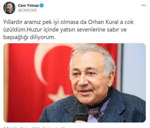 Cem Yılmaz, davalık olduğu Orhan Kural'ın ölümün ardından taziye mesajı yayınladı