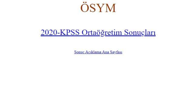 ÖSYM 2020 KPSS Ortaöğretim sonuçları açıklandı! KPSS sonuç sorgulama ekranı! KPSS sınav sonuçlarına nereden bakılır?