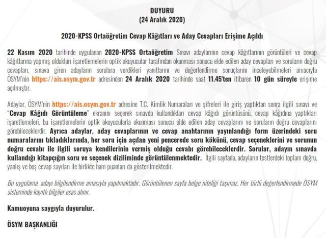 ÖSYM Son Dakika! KPSS Ortaöğretim sınav sonuçları erişime açıldı! KPSS Ortaöğretim sonuçları sorgulama