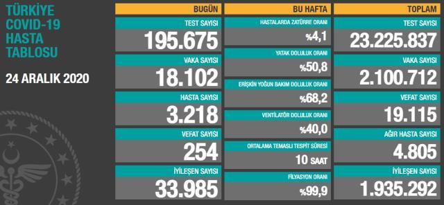 Son Dakika: Türkiye'de 24 Aralık günü koronavirüs nedeniyle 254 kişi vefat etti, 18 bin 102 yeni vaka tespit edildi