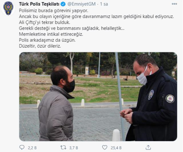 EGM, gidecek yeri olmayan vatandaşa ceza kesen polis adına özür diledi