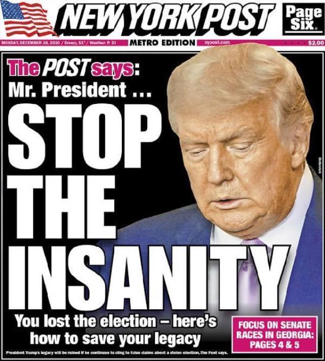 Trump'ı destekleyen gazete 'Deliliği bırak' manşetiyle çıktı