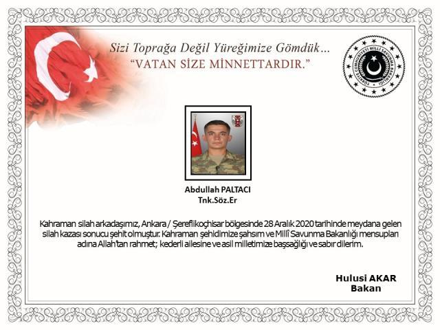 Son Dakika! Ankara'da silah kazası sonucu bir asker şehit oldu
