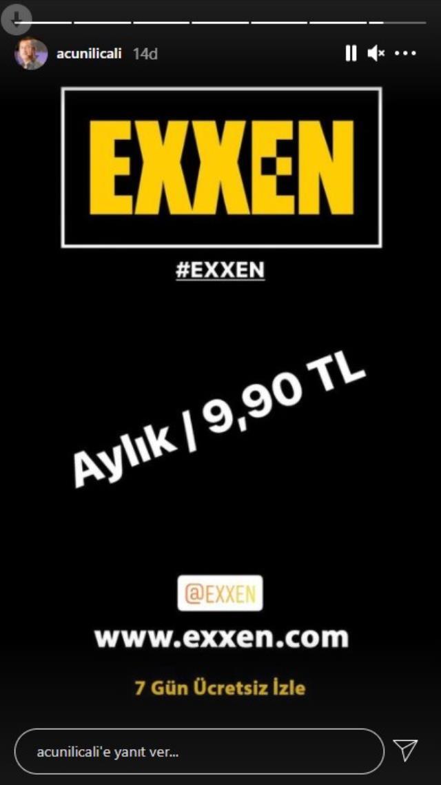 Acun Ilıcalı, Exxen'in aylık ücretinin 9.90 TL olacağını açıkladı