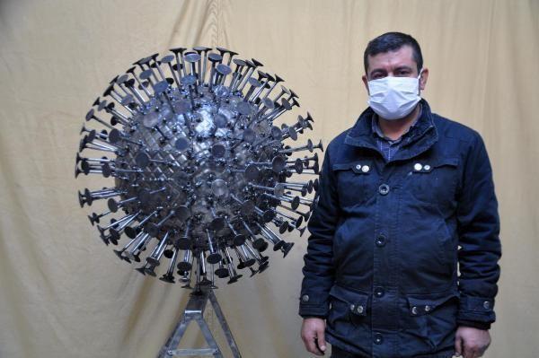 Son dakika haberi | Koronavirüsün heykelini yaptı
