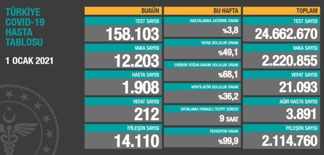 Son Dakika: Türkiye'de 1 Ocak günü koronavirüs nedeniyle 212 kişi vefat etti, 12 bin 203 yeni vaka tespit edildi