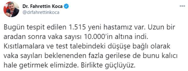 Son Dakika: Türkiye'de 3 Ocak günü koronavirüs nedeniyle 193 kişi vefat etti, 9 bin 877 yeni vaka tespit edildi